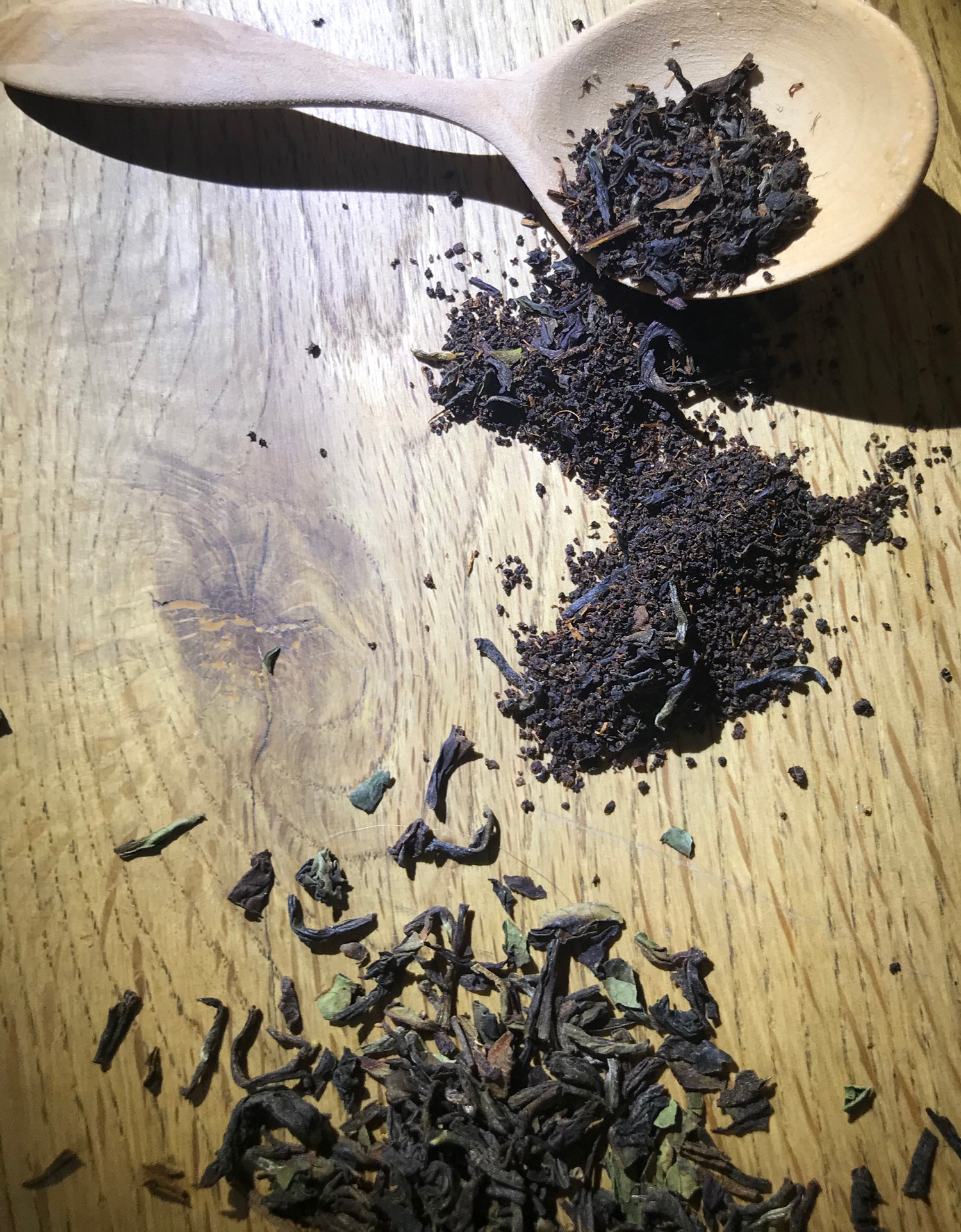 tea leaves and spoon